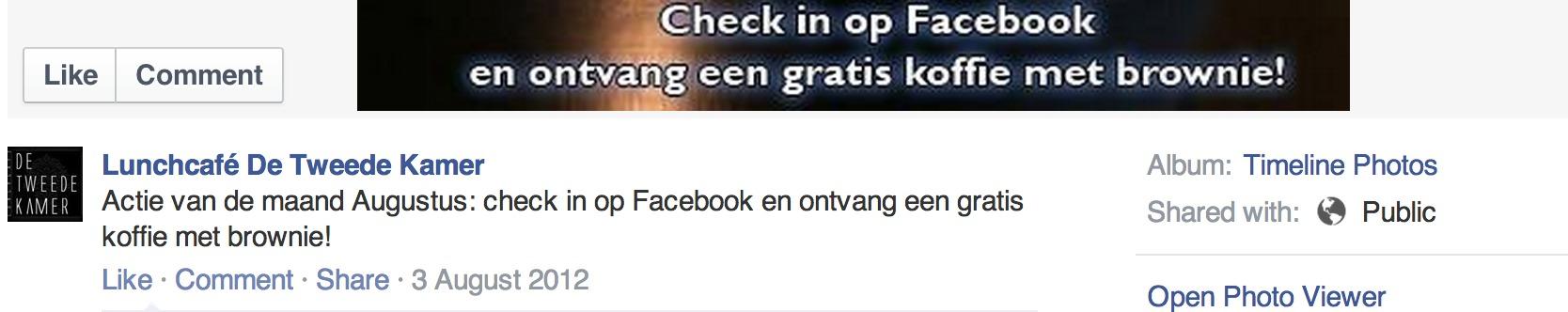 Check in op facebook en krijg gratis koffie