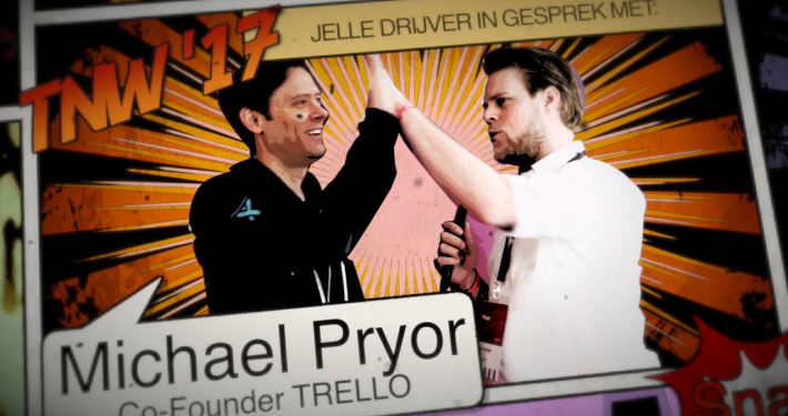 Trello co founder Michael Pryor talking to Jelle Drijver