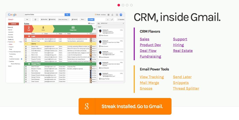 Streak CRM systeem voor in je GMail inbox